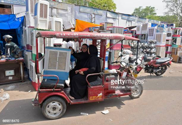 People purchasing air coolers at Kamla Market as temperature rises on April 17 2017 in New Delhi India Delhi residents continued to bear the...