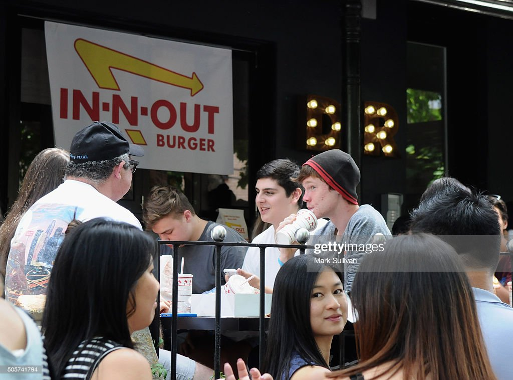 People queue at the In-N-Out Burger pop-up in Surry Hills on