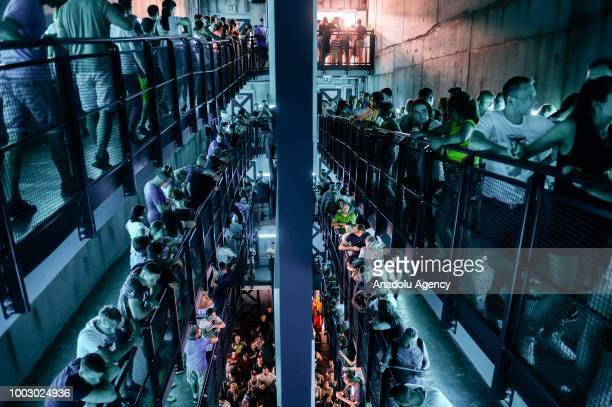 People queue for a ride on Hyperion the biggest Mega Coaster in Europe at Energylandia the biggest amusement park in Poland on July 21 2018 in Zator...