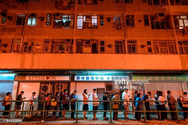 TOPSHOT People queue to cast their vote during the district council elections in Tseung Kwan O district in Hong Kong on November 24 2019 Hong Kong's...