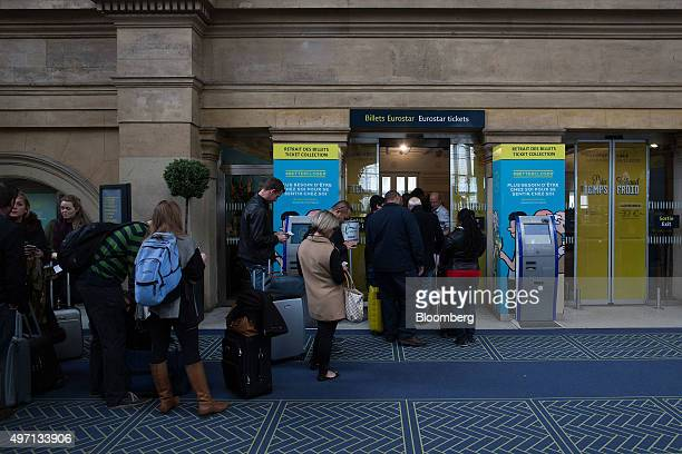 People queue to change their Eurostar tickets at Gard de Nord railway station in Paris France on Saturday Nov 14 2015 French President Francois...