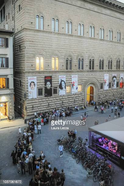 photos of performance Rhytm 10 is displayed during the opening of the exhibition 'Marina Abramovic The Cleaner' in Palazzo Strozzi on September 20...