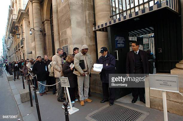 People queue to get a visa at the Consulate of the United States in Paris France Monday January 30 2006 France's failure to meet a US deadline on...