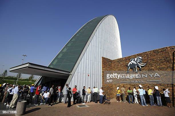 People queue to purchase official 2010 FIFA World Cup tickets on April 15 2010 at the Maponya shopping mall in Soweto during the first day of the...