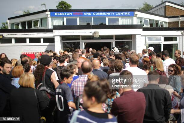 People queue to see Labour leader Jeremy Corbyn address a rally of supporters but were turned away after the hall at Beeston Youth and Community...