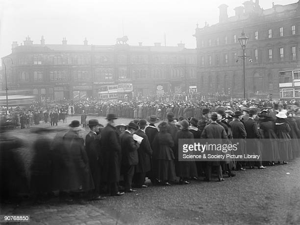 People queueing to see an ambulance train which was on display at several stations in Lancashire and Yorkshire before being taken to France It was...