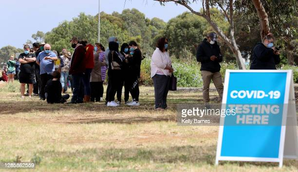 People queuing at the COVID-19 Testing site at Parafield Airport on November 16, 2020 in Adelaide, Australia. South Australia is on alert following...