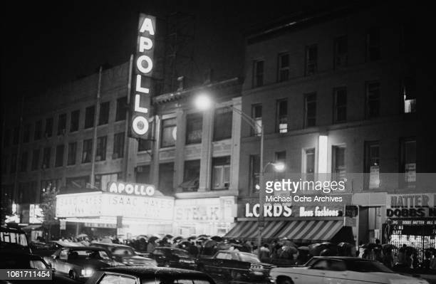 People queuing for an Isaac Hayes concert at the Apollo Theater on West 125th Street, New York City, 26th June 1970.