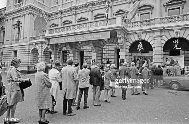 People queuing for The Chinese Exhibition at the Royal Academy in London, UK, 17th October 1973. The exhibition was sponsored by the Times and Sunday...