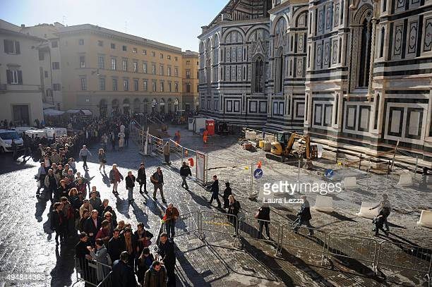 People queuing to attend the opening of the New Museo dell'Opera del Duomo inside the Room of the First Facade on October 29 2015 in Florence Italy...