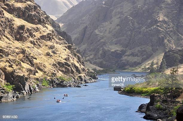 People rafting along Hells Canyon