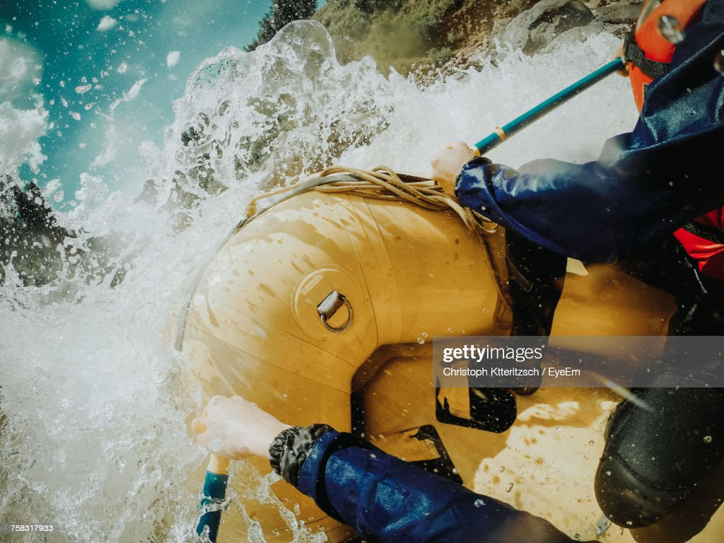 People Rafting In River : Stock Photo