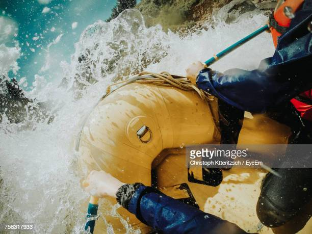 people rafting in river - hazard stock pictures, royalty-free photos & images