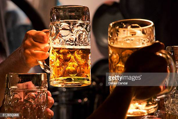 People raising beer mugs for toast