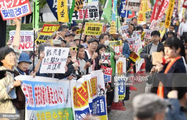 People rally against the governmentproposed conspiracy bill near the Diet building in Tokyo on May 18 with the bill that would punish the planning of...