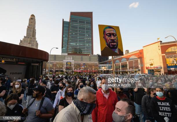 People rally at Barclays Center in Brooklyn, New York, on April 20, 2021 after Derek Chauvin was found guilty on all counts in the death of George...