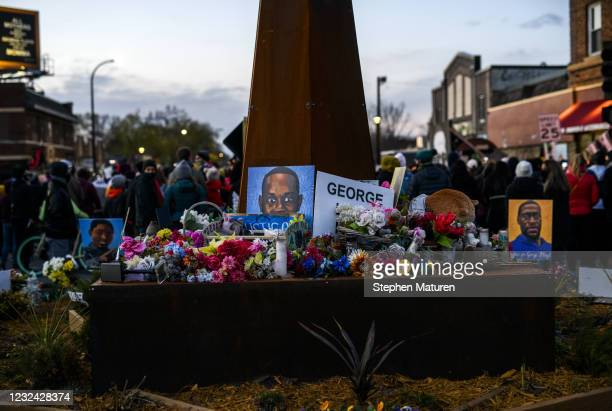 People rally at George Floyd Square after the guilty verdict in the Derek Chauvin trial on April 20, 2021 in Minneapolis, Minnesota. Former police...
