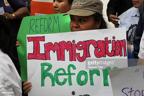 People rally before an act of civil disobedience to protest against the lack of an immigration reform bill on May 17 2010 in New York New York Nearly...