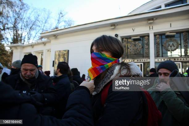 People rally for transgender's rights in Kyiv Ukraine November 18 2018 International day for the remembrance of transgender people is held around the...