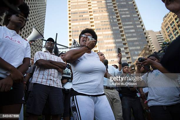 People rally in Dallas Texas on Thursday July 7 2016 to protest the deaths of Alton Sterling and Philando Castile Black motorist Philando Castile a...