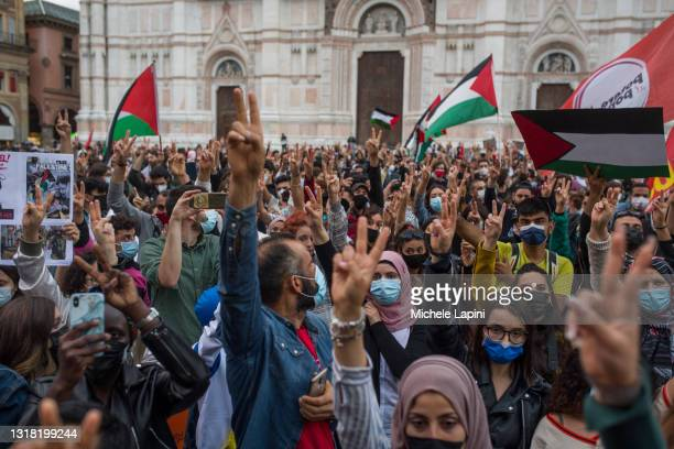 People rally in solidarity with Palestine after Israeli bombing of Gaza Strip on May 15, 2021 in Bologna, Italy.
