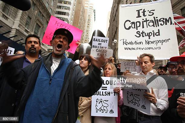 People rally in the financial district against the proposed government buyout of financial firms September 25, 2008 in New York City. In response to...