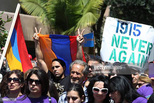 People rally on the 99th anniversary of the Armenian Genocide calling for recognition and reparations on April 24 2014 in Los Angeles California...