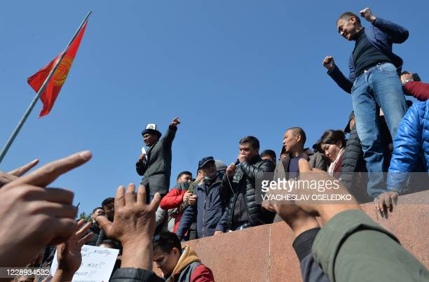 People rally to demand the impeachment of Kyrgyz President Sooronbay Jeenbekov at Bishkek's AlaToo square on October 7 2020