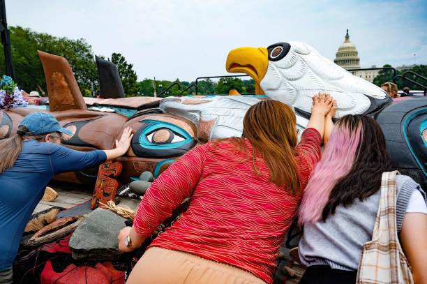 DC: Interior Secretary Haaland Welcomes Totem Pole Carved By Lummi Nation To Nation's Capital