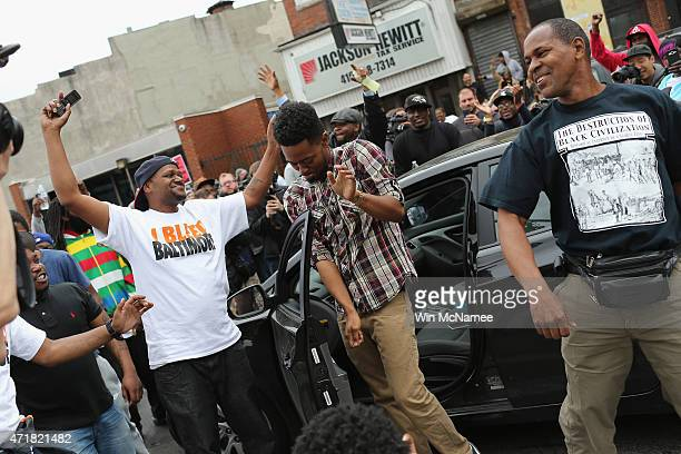 People react after Baltimore authorities released a report on the death of Freddie Gray on May 1 2015 in Baltimore Maryland Marilyn Mosby Baltimore...