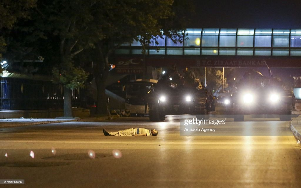 People react against military coup attempt in Ankara, Turkey on July 16, 2016.