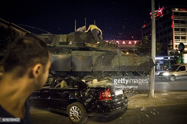 People react against military coup attempt in Ankara Turkey on July 16 2016