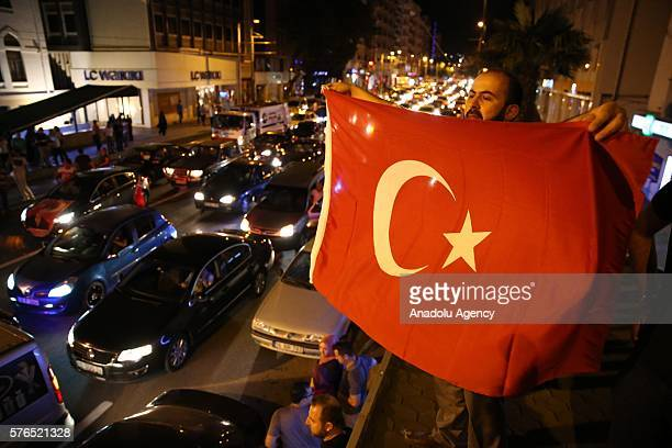 People react against military coup attempt, in Bursa, Turkey on July 16, 2016.