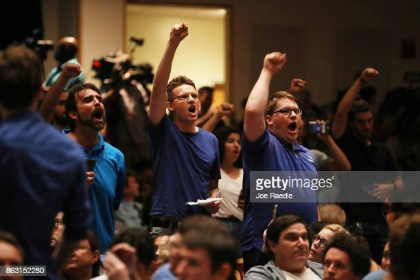 People react as white nationalist Richard Spencer who popularized the term 'altright' speaks at the Curtis M Phillips Center for the Performing Arts...