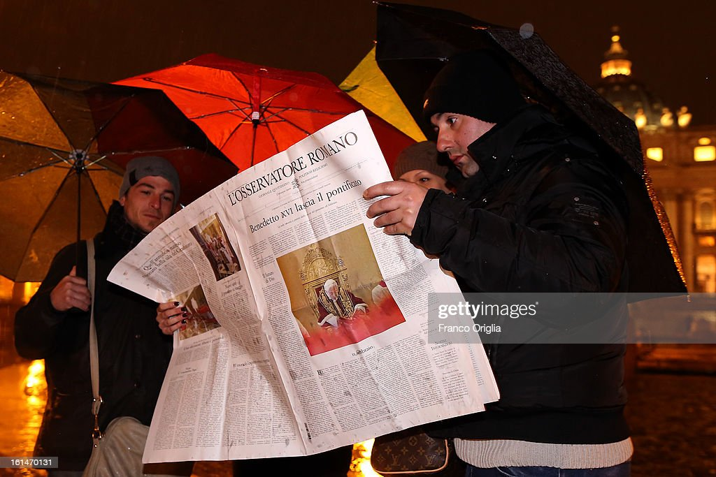 People read a special edition of the 'Osservatore Romano' (Official Vatican newspaper) announcing the retirement of the Pope in St. Peter's Square on February 11, 2013 in Vatican City, Vatican. Pope Benedict XVI today announced that he is to retire on February 28 citing age related health reasons.