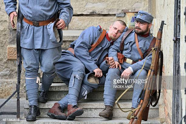 People reconstruct a scene on June 28 2014 in Brno Czech Republic showing Hungarian soldiers during the assassination of Austrian Archduke Franz...