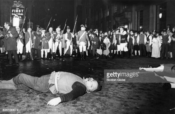 People reenact the Boston Massacre at the rear of the Old State House in Boston March 5 1970