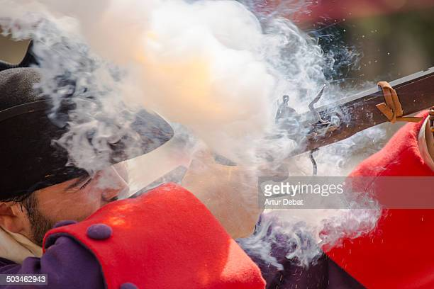 People reenactment the battle of The Spanish Successor War in Caldes d'Estrac in Catalonia for the tercentenary of the War 17142014 The Bourbons...