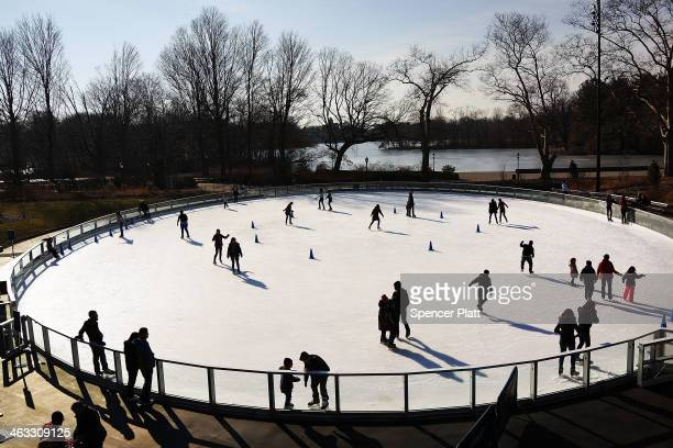 People relax at a new ice rink at the Samuel J. And Ethel LeFrak Center following on a sunny winter afternoon in Prospect Park January 17, 2014 in...