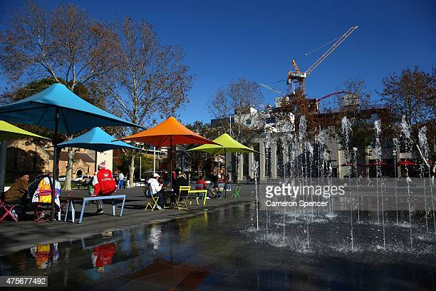 People relax in Parramatta Square in central Parramatta on June 3 2015 in Sydney Australia Parramatta is about to become one of Australia's biggest...