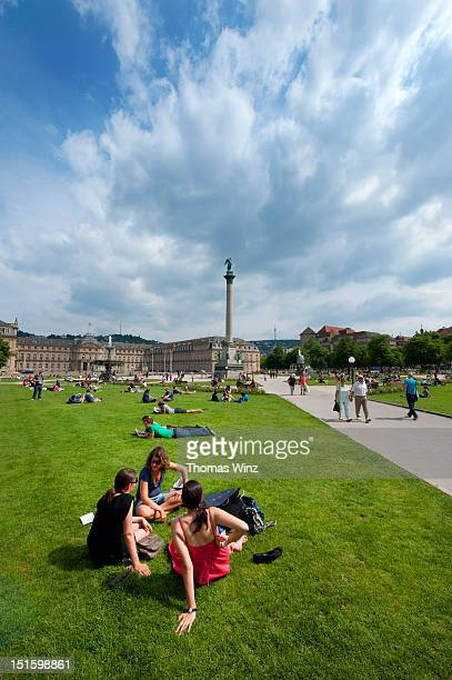 "people relaxing at ""schlossplatz"" - stuttgart stock pictures, royalty-free photos & images"