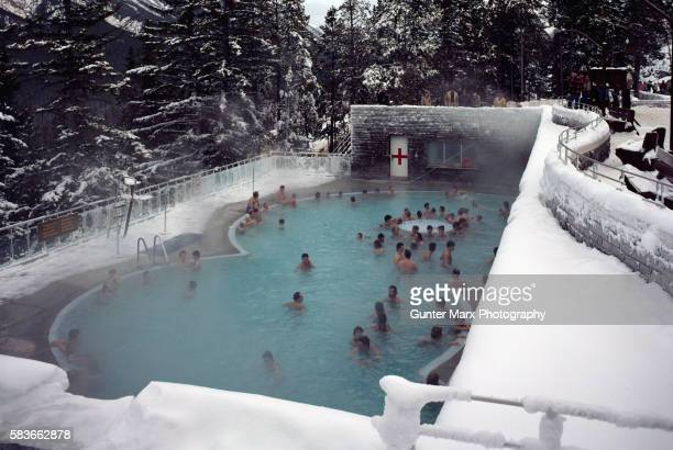 People Relaxing in Hot Spring Pool