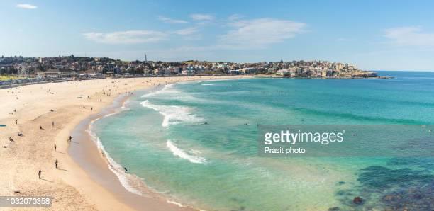 people relaxing on the bondi beach in sydney, australia. bondi beach is one of the most famous beach in the world. - bucht stock-fotos und bilder