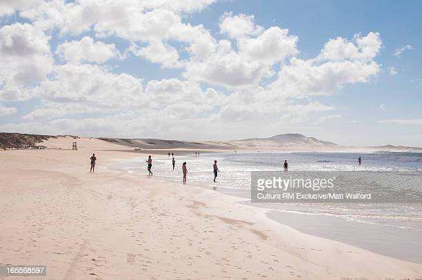 people relaxing on white sand beach - cape verde stock pictures, royalty-free photos & images