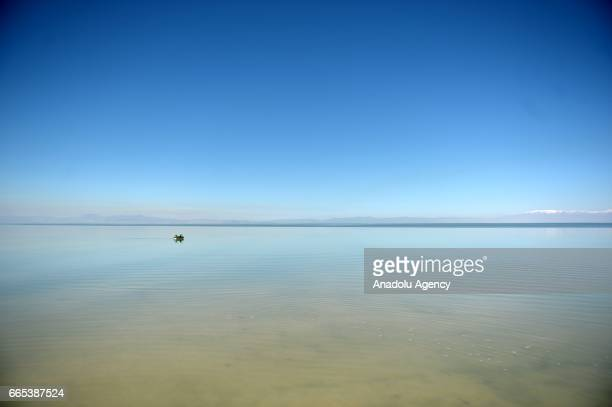 People ride a paddle boat at Urmia Lake in Tehran Iran on April 6 2017 Urmia Lake was the largest lake in the Middle East and the sixthlargest...