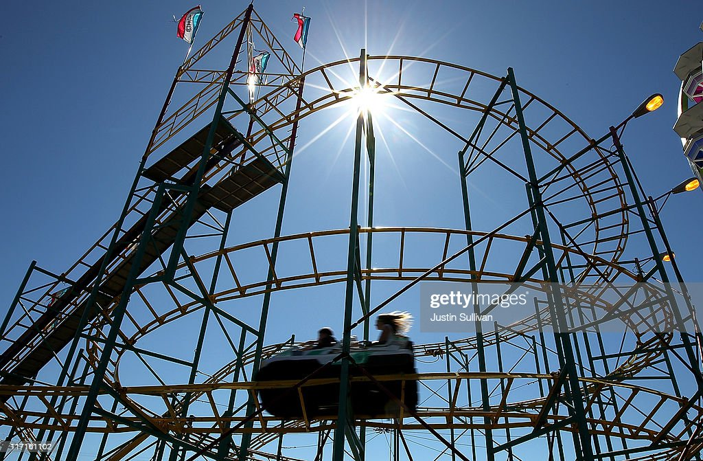 Alameda County Fair 2020.People Ride A Rollercoaster At The Alameda County Fair On