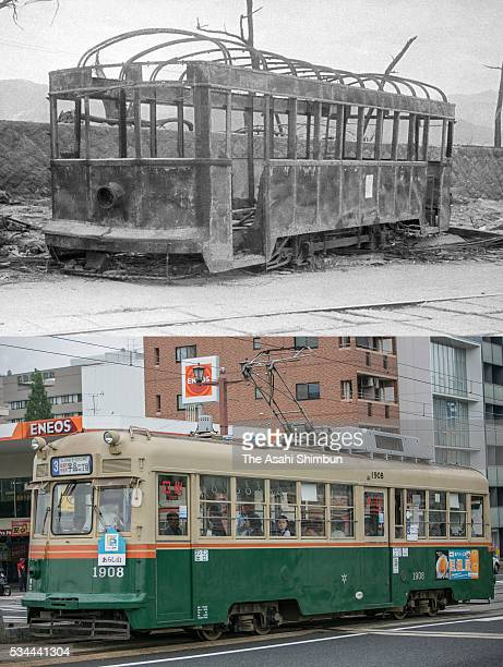 This digital composite shows the tram car right after the atomic bombing in August 1945 and on May 26 2016 in Hiroshima Japan #534426342 HIROSHIMA...