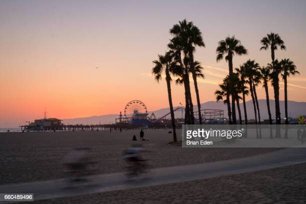 People ride bicycles between palm trees at sunset in front of Santa Monica Pier