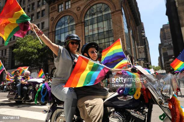 People ride motorcycles down 5th Ave in the annual New York Gay Pride Parade one of the oldest and largest in the world on June 25 2017 in New York...