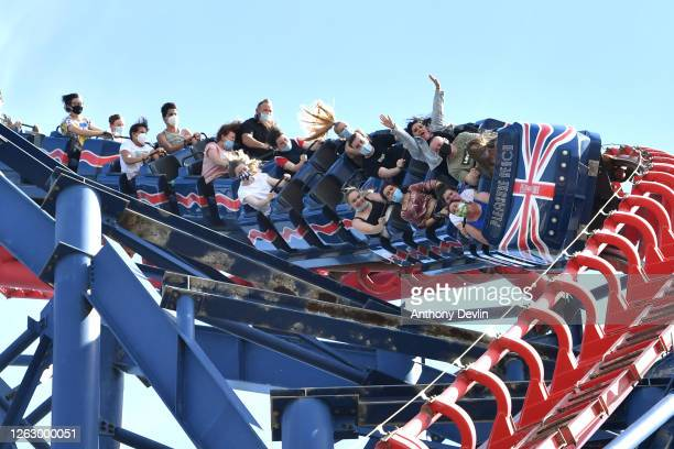 People ride on the Big One rollercoaster at Blackpool Pleasure Beach on July 31 2020 in Blackpool England High temperatures are forecast across the...